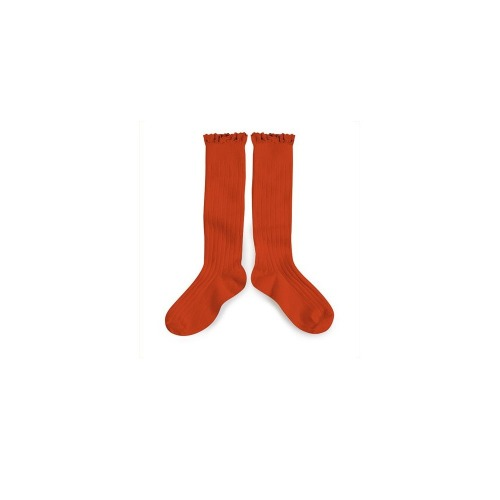 꼴레지앙 Josephine lace trim kneehighs_orange confite(2954 088)