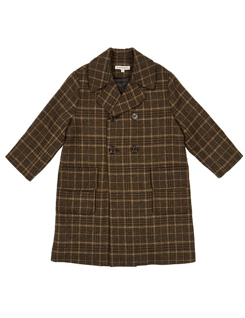 카라멜 EAGLE COAT-GREEN WOOL CHECK